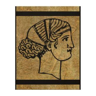 Grecian Greek Ancient Woman Antique Wood Wall Art