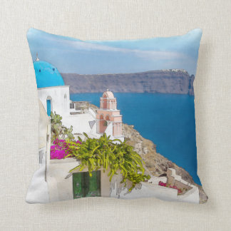 Grecian Paradise. Watercolor painting of Santorini Cushion