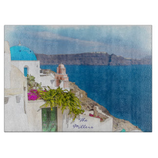 Grecian Paradise. Watercolor painting of Santorini Cutting Board
