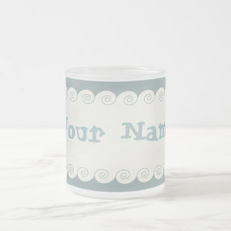 Grecian Spiral Waves Frosted Glass Mug