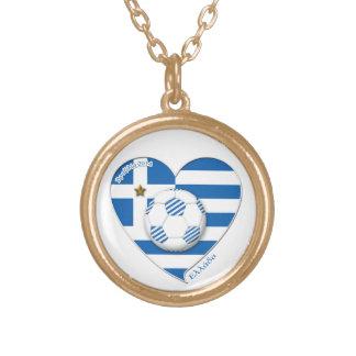 "Greece ""ΕΛΛΆΔΑ"" Soccer Team. Soccer Greece 2014 Gold Plated Necklace"