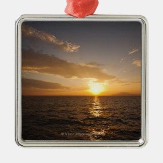 Greece, Aegean Sea horizon at sunrise Silver-Colored Square Decoration