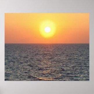 Greece, Aegean Sea horizon at sunset Poster