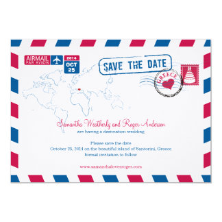 Greece Air Mail Wedding Save The Date 13 Cm X 18 Cm Invitation Card