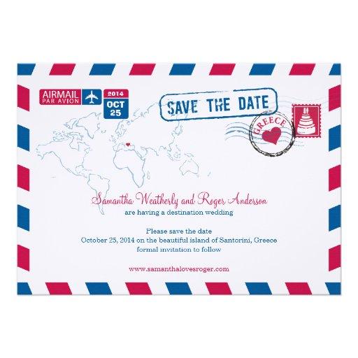 Greece Air Mail Wedding Save The Date Custom Invites