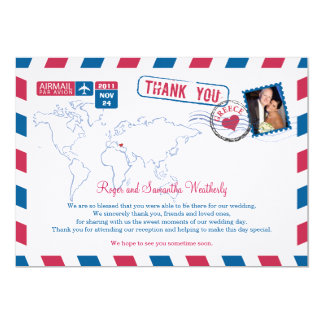 Greece Air Mail Wedding Thank You 13 Cm X 18 Cm Invitation Card