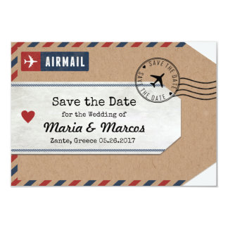 Greece Airmail Luggage Tag Save Date with Map Card