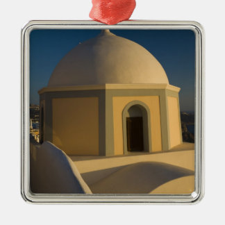 Greece and Greek Island of Santorini town of 2 Silver-Colored Square Decoration
