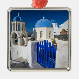 Greece and Greek Island of Santorini town of Oia 3 Silver-Colored Square Decoration