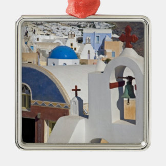 Greece and Greek Island of Santorini town of Oia 5 Silver-Colored Square Decoration