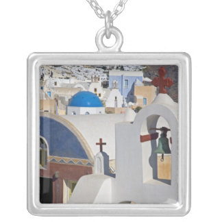 Greece and Greek Island of Santorini town of Oia 5 Square Pendant Necklace
