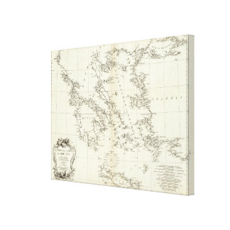 Greece and Turkey Engraved Map Canvas Print