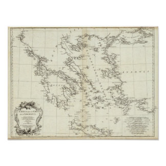 Greece and Turkey Engraved Map Poster