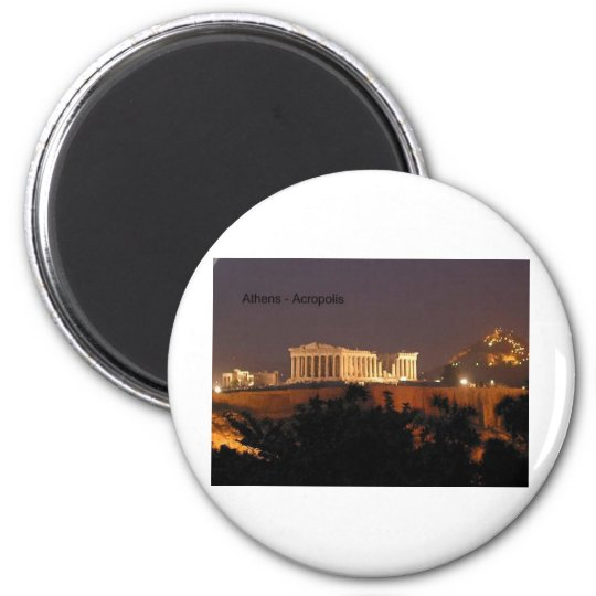 Greece - Athens - Acropolis (by St.K) 6 Cm Round Magnet