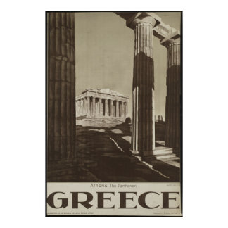 Greece Athens Vintage Travel Poster Ad Retro