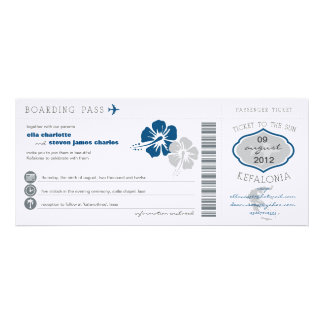 Greece Boarding Pass Wedding Invitation