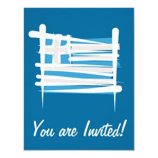 Greece Brush Flag 11 Cm X 14 Cm Invitation Card
