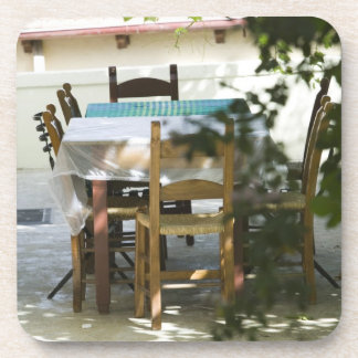 GREECE, CRETE, Hania Province, Vamos: Cafe Table Beverage Coaster