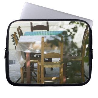 GREECE, CRETE, Hania Province, Vamos: Cafe Table Laptop Sleeve