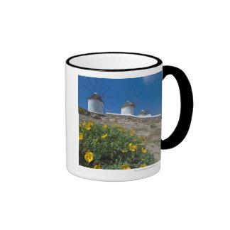 Greece, Cyclades Islands, Mykonos, Flowers near Coffee Mug