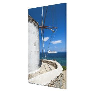 Greece, Cyclades Islands, Mykonos, Old windmill Canvas Print
