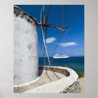 Greece, Cyclades Islands, Mykonos, Old windmill Poster
