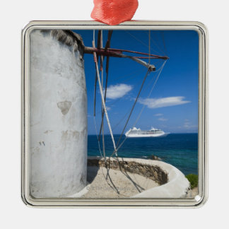 Greece, Cyclades Islands, Mykonos, Old windmill Silver-Colored Square Decoration