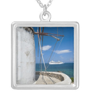 Greece, Cyclades Islands, Mykonos, Old windmill Silver Plated Necklace