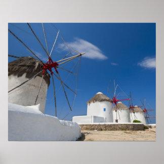 Greece, Cyclades Islands, Mykonos, Old windmills Poster