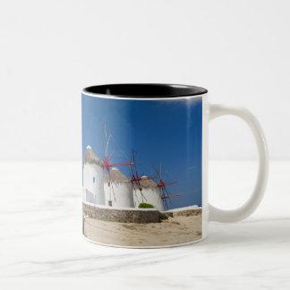 Greece, Cyclades Islands, Mykonos, Old windmills Two-Tone Coffee Mug