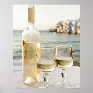 Greece, Cyclades Islands, Mykonos, Wine on table Poster