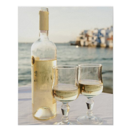 Greece, Cyclades Islands, Mykonos, Wine on table Poster