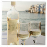 Greece, Cyclades Islands, Mykonos, Wine on table Ceramic Tiles