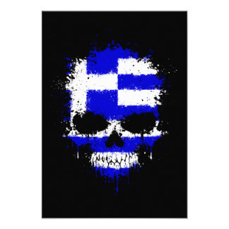 Greece Dripping Splatter Skull Custom Announcements