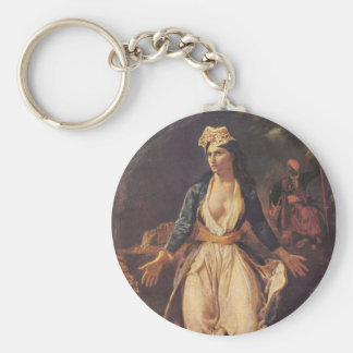 Greece Expiring on the Ruins of Missolongh Basic Round Button Key Ring