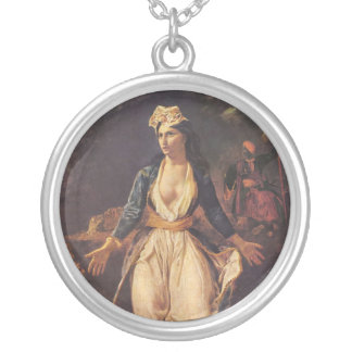 Greece Expiring on the Ruins of Missolongh Round Pendant Necklace