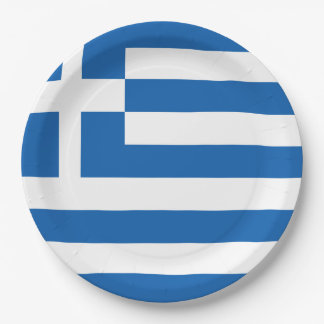 Greece Flag 9 Inch Paper Plate