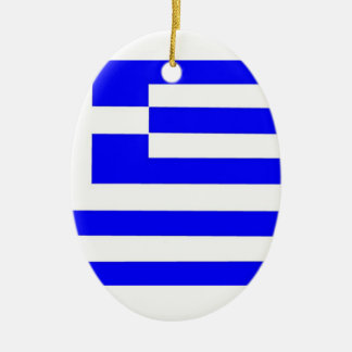 Greece Flag Double-Sided Oval Ceramic Christmas Ornament