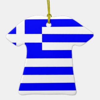 Greece Flag Double-Sided T-Shirt Ceramic Christmas Ornament