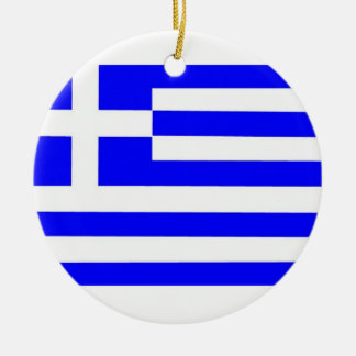 Greece Flag Double-Sided Ceramic Round Christmas Ornament