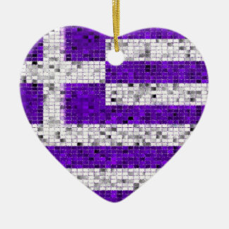Greece Flag glitter ornament
