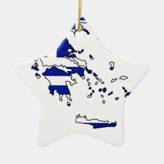GREECE FLAG MAP CHRISTMAS ORNAMENT