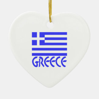 Greece Flag & Name Christmas Ornament
