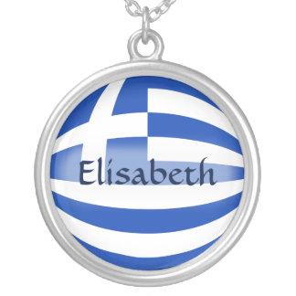 Greece Flag + Name Necklace