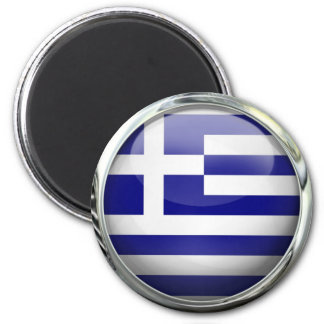 Greece Flag Round Glass Ball 6 Cm Round Magnet