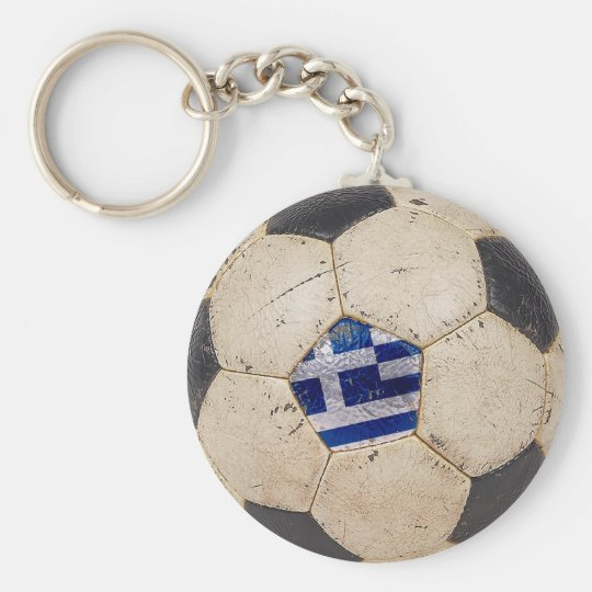 Greece Football Basic Round Button Key Ring