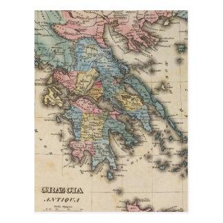Greece Full color Atlas Map Postcard