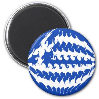 Greece Gnarly Flag 6 Cm Round Magnet