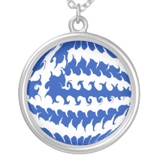 Greece Gnarly Flag Round Pendant Necklace
