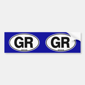 Greece GR Oval International Identity Code Letters Bumper Sticker